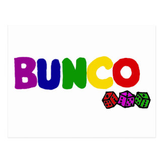 Colorful Bunco and Dice Art Postcard