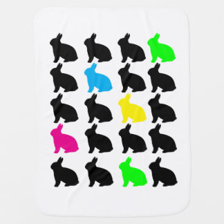 Colorful Bunnies (Double Sided) Stroller Blankets