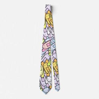 colorful bunnies neck tie