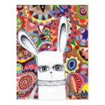 Colorful Bunny Postcard - Cute Whimsical Art