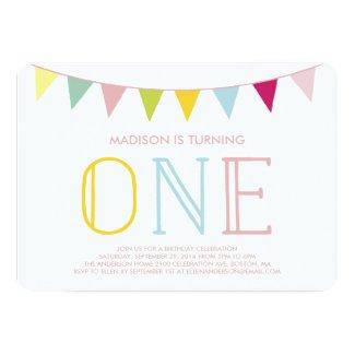 "Colorful Bunting | First Birthday Invitation 5"" X 7"" Invitation Card"