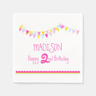 Colorful bunting kids 2nd birthday name napkins