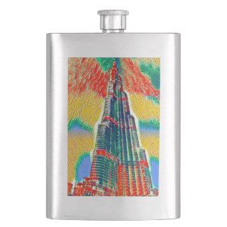 Colorful Burj Khalifa colorful painting Flask