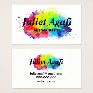 Colorful business card with colored blots