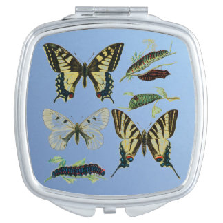 Colorful Butterflies and Caterpillars Makeup Mirror