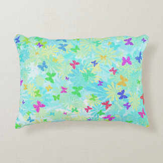 Colorful Butterflies and Daisies by Shirley Taylor Accent Pillow