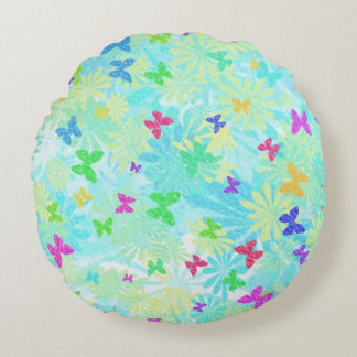 Colorful Butterflies and Daisies by Shirley Taylor Round Pillow