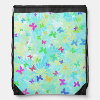 Colorful Butterflies and Daisies Cinch Bags