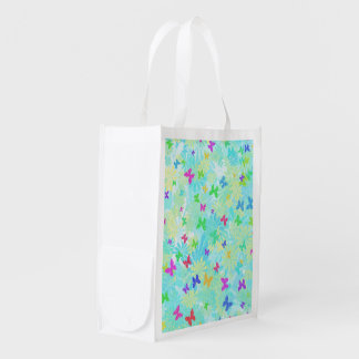 Colorful Butterflies and Daisies Grocery Bag