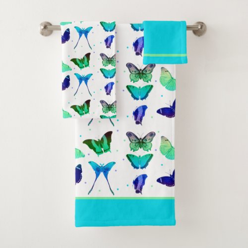 Colorful butterflies and Dots Bathroom Towel Set