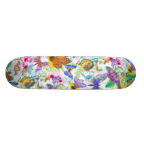 Colorful Butterflies and Flowers Skateboard
