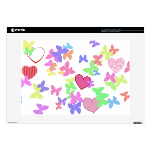 colorful butterflies and loving hearts laptop skin