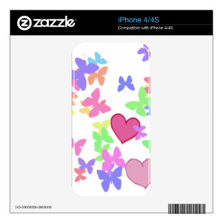 colorful butterflies and loving hearts skins for the iPhone 4