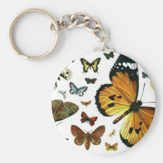 Colorful Butterflies Antiquarian Image Bookmark Keychain