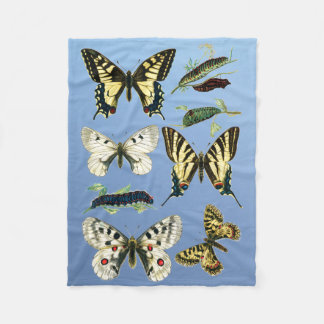 Colorful Butterflies, Caterpillars and Moths Fleece Blanket