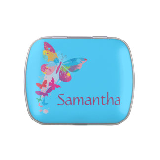 Colorful Butterflies Design Party Favor Candy Tin