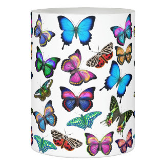 Colorful Butterflies Flameless Pillar Candle Flameless Candle