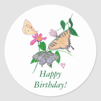 Colorful Butterflies Happy Birthday Stickers