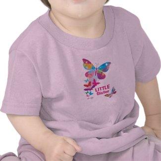 Colorful Butterflies LITTLE Sister Shirt