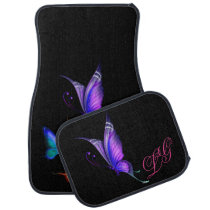 Colorful Butterflies on Black w/Monogram Car Floor Mat