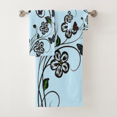 Colorful Butterflies on Blue Flowers Bath Towel Set