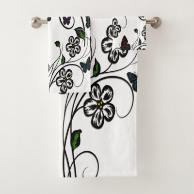 Colorful Butterflies on White Flowers Bath Towel Set