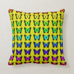 Colorful Butterflies on Yellow Background Pillows