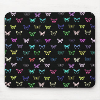 Colorful butterflies pattern on black mouse pads