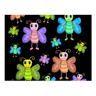 Colorful butterflies pattern postcard