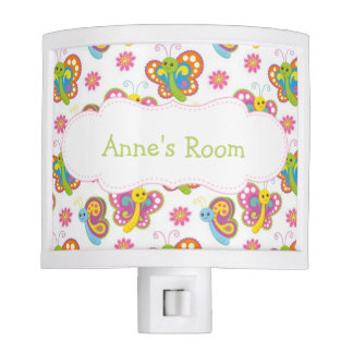 Colorful Butterflies Personalized Night Light