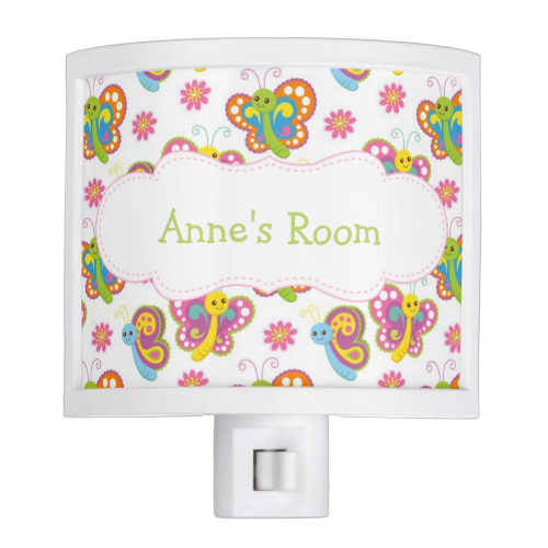 Colorful Butterflies Personalized Nite Lites
