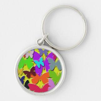 Colorful Butterflies Premium Round Keychain