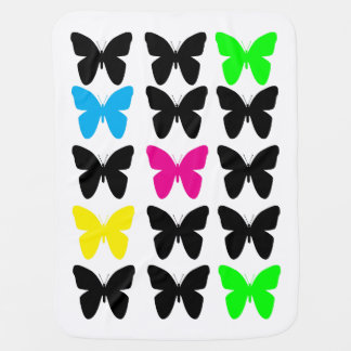 Colorful Butterflies Receiving Blankets