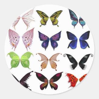 Colorful butterflies round sticker