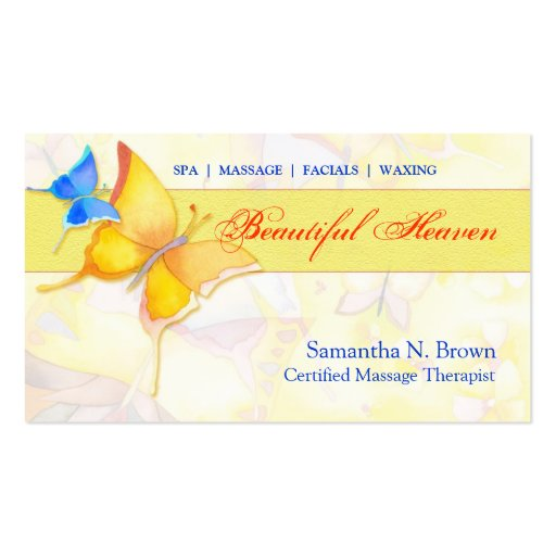 Colorful Butterflies: Spa/Massage Business Cards