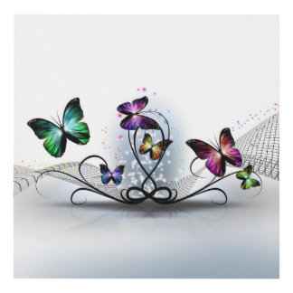 Colorful Butterflies Wood Wall Art