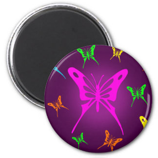 Colorful Butterfly 2 Inch Round Magnet