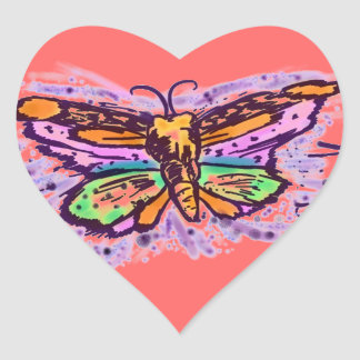 Colorful Butterfly artistic heart sticker