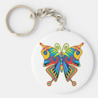 Colorful butterfly basic round button keychain