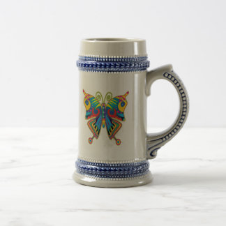 Colorful butterfly beer stein