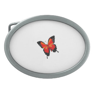 colorful butterfly oval belt buckle