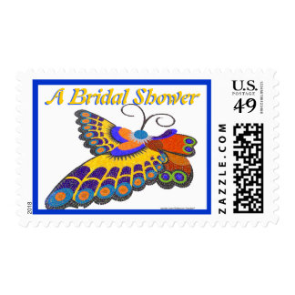 Colorful Butterfly Bridal Shower Postage