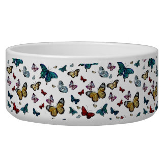 Colorful Butterfly Butterflies Pet Bowl