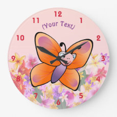 Colorful Butterfly Cartoon With A Cute Smile Large Clock