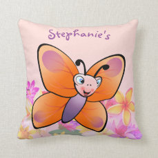Colorful Butterfly Cartoon With A Cute Smile Throw Pillow