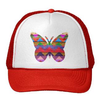 Colorful Butterfly Chevron Pattern on Wood Trucker Hat