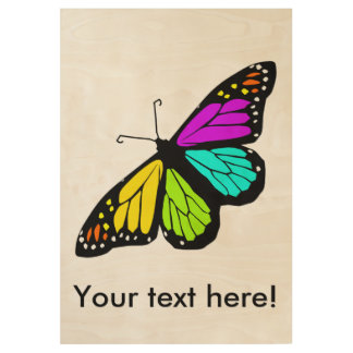 Colorful butterfly clipart wood poster
