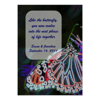 Colorful Butterfly Customizable Wedding Poster
