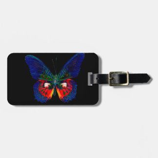 Colorful Butterfly design against black backdrop 2 Bag Tag