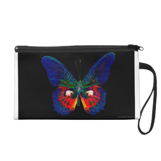Colorful Butterfly design against black backdrop 2 Wristlet Purse